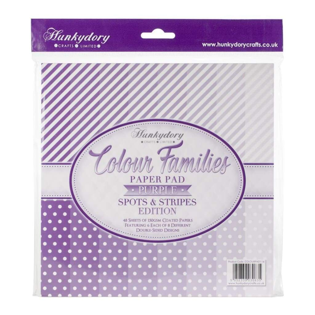 Hunkydory Colour Families Double-Sided Paper Pad 8 inch X8 inch 48 pack Purple Spots & Stripes