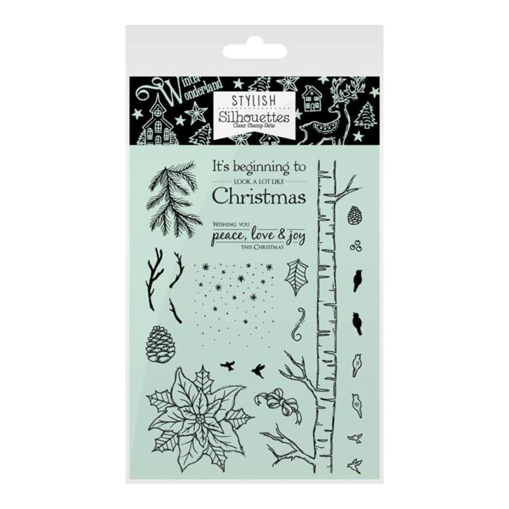 Hunkydory Stylish Silhouettes A6 Stamp Set A White Christmas/Festive Foliage