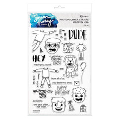 Simon Hurley Create - Cling Stamps 6 inch X9 inch - Dudes Too!