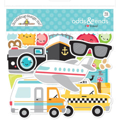 Doodlebug Odds & Ends Die-Cuts I Heart Travel, 72 pack