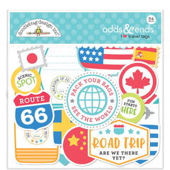 Doodlebug Odds & Ends Die-Cuts - I Heart Travel Tags, 54 pack
