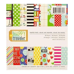 Imaginisce Double-Sided Paper Pad 6 Inch X6 Inch  36 Pack  Happy Traveler