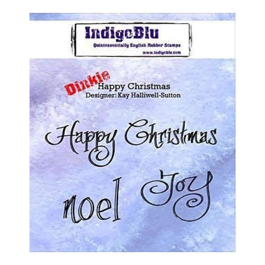 Indigoblu Cling Mounted Stamp 3 Inch X3 Inch  Happy Christmas/Joy/Noel