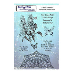 Indigoblu Cling Mounted Stamp 8 Inch X5.5 Inch  Floral Fancy