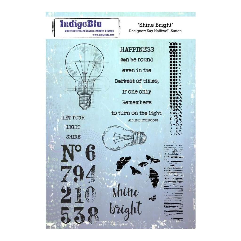 IndigoBlu Cling Mounted Stamp 8inch X5.5inch Shine Bright
