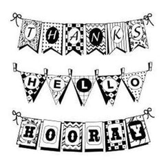 Inkadinkado Inchie Clear Stamps W/Block 4In.X5in. Sheet Pennants