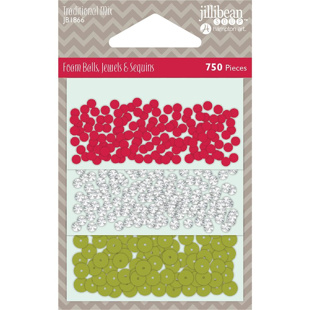 Jillibean Soup Foam Balls, Jewels & Sequins Shaker Filler - Traditional Mix, 750 pack