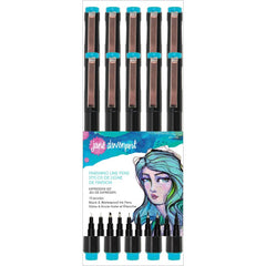 Jane Davenport - Finishing Line Pens 10 pack - Black-2 Micro, 2 Chisel, 4 Brush