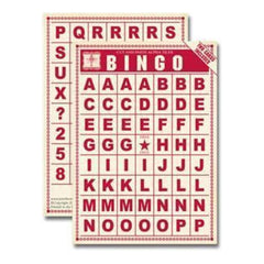 Jenni Bowlin - Bingo Cards - Alpha Tiles - Red 2 Sheets Per Pack