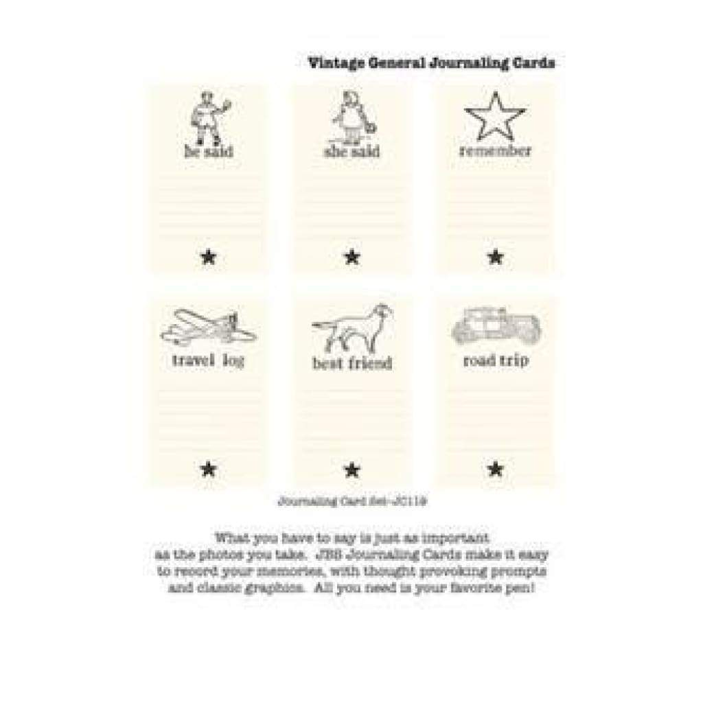 Jenni Bowlin - Vintage General Theme Journaling Cards 6 Pack