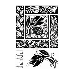 Woodware - Clear Singles Stamp - Floral Block 4 in x 6 in.