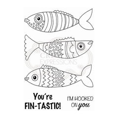 Woodware - Clear Singles Stamp - Singles Swimming Fish 4 in x 6 in.
