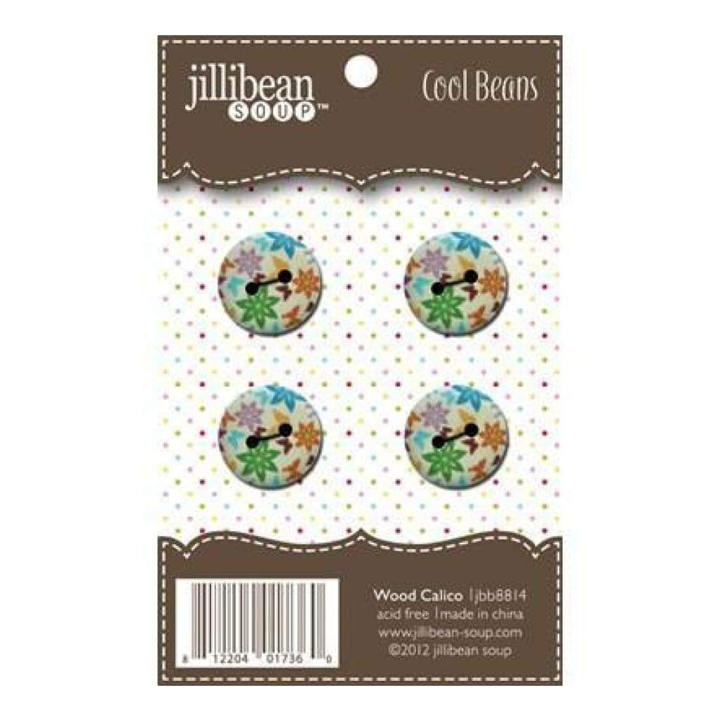 Jillibean Soup - 1.8Cm Wood Buttons - Wood Calico