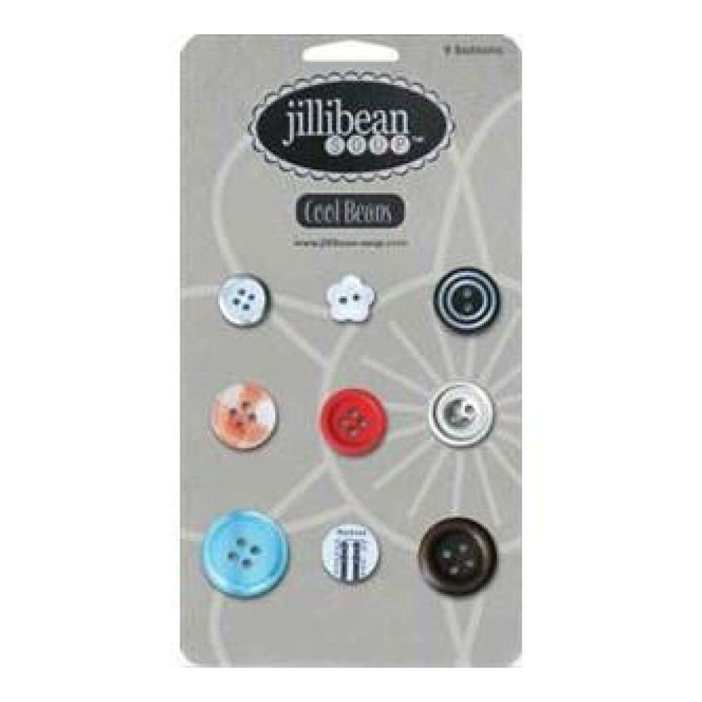 Jillibean Soup - Cool Beans - 9 Count Buttons - Typography