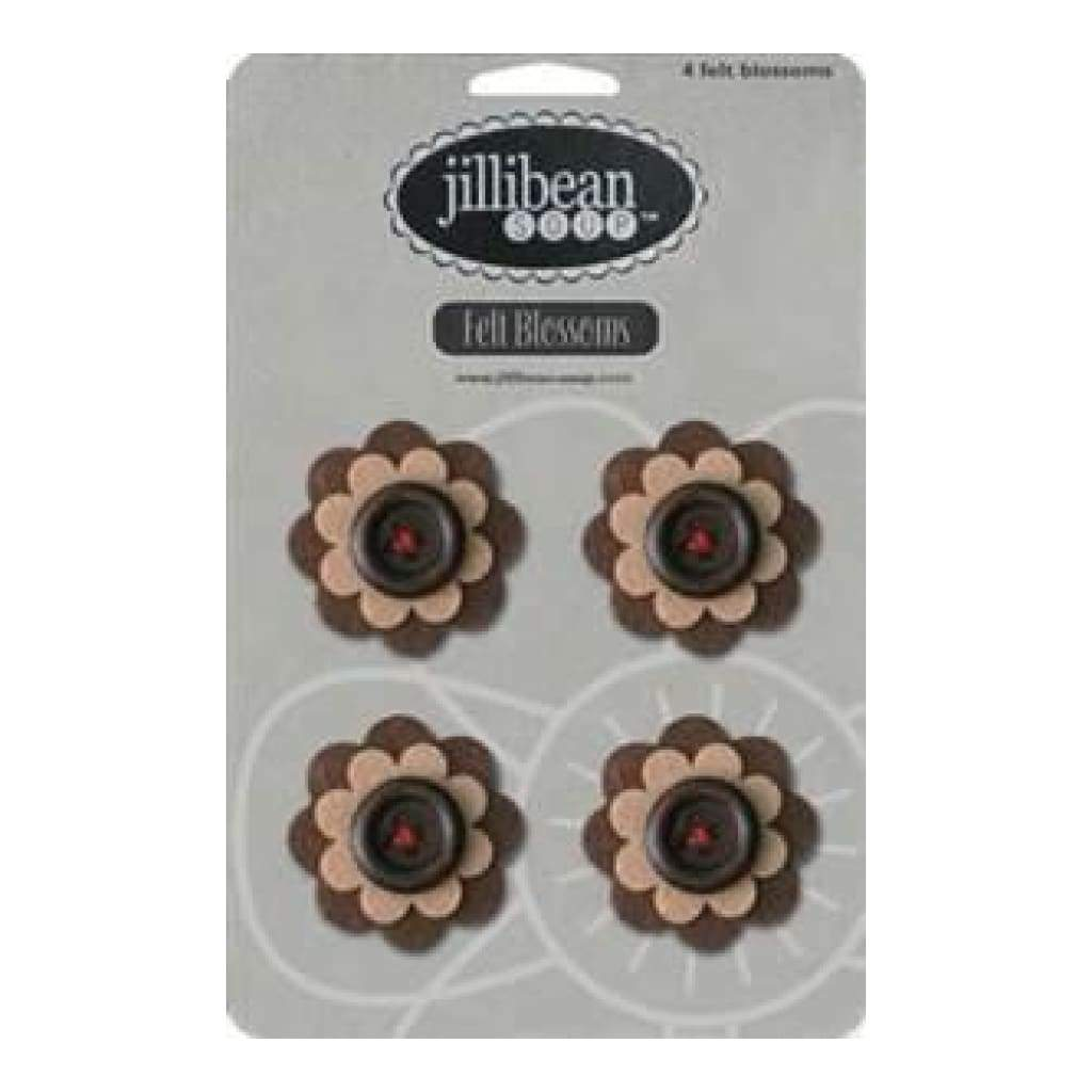 Jillibean Soup - Felt Blossoms - 4 Count Felt Flowers - Brown