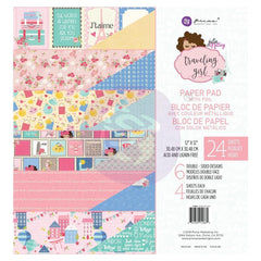 Prima Marketing - Julie Nutting Double-Sided Paper Pad 12inch X12inch 24 pack Travelling Girl, 6 Foiled Designs/4 Each