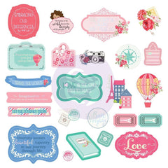 Prima Marketing - Julie Nutting Travelling Girl Ephemera Cardstock Die-cuts 24P Shapes, Tags, Words, Foiled Accents