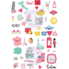 Prima Marketing - Julie Nutting Travelling Girl Cardstock Stickers 5inch X7inch 4 pack Words & Icons