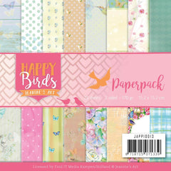 Find It Trading Jeanines Art Paper Pack 6in x 6in 23 pack Happy Birds, Double-Sided Designs