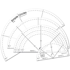 June Tailor - Simple Circles Rotary Cutting Rulers 6 pack