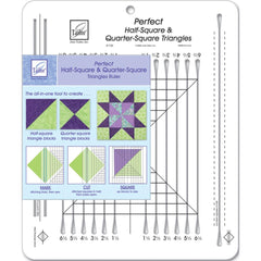 June Tailor - Perfect Half & Quarter Square Triangles Ruler 10-1/2 inch X12-1/2 inch