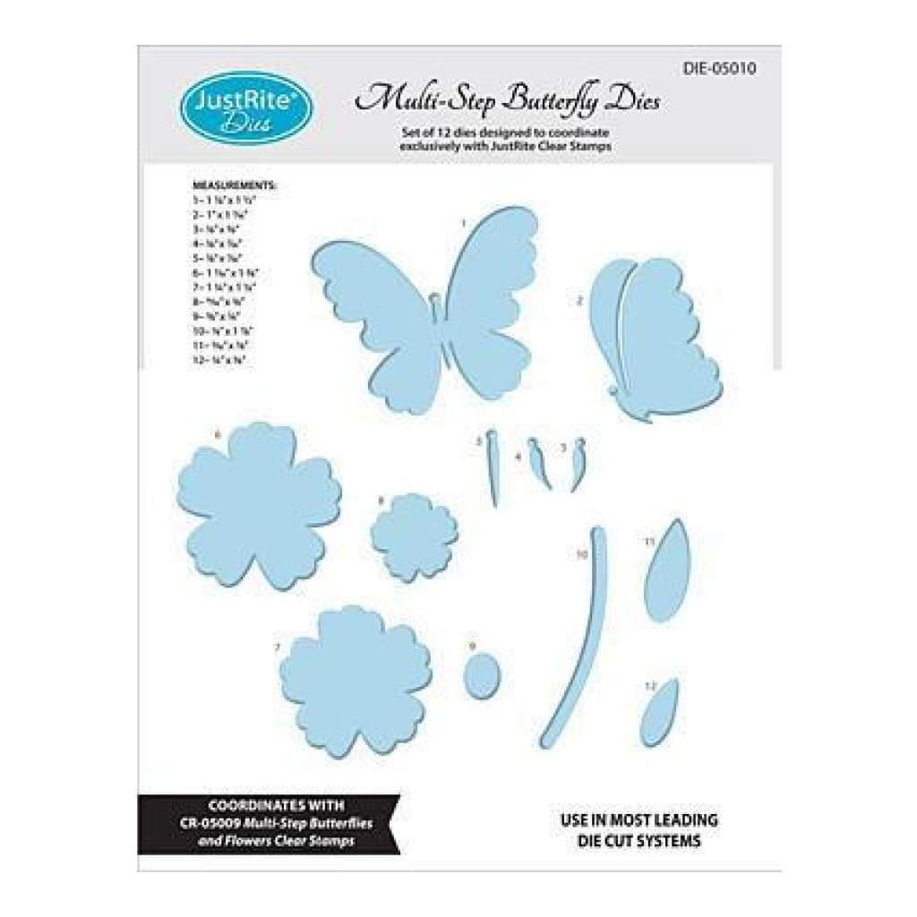 Justrite Custom Dies 12 Pack  Multi-Step Butterflies & Flowers