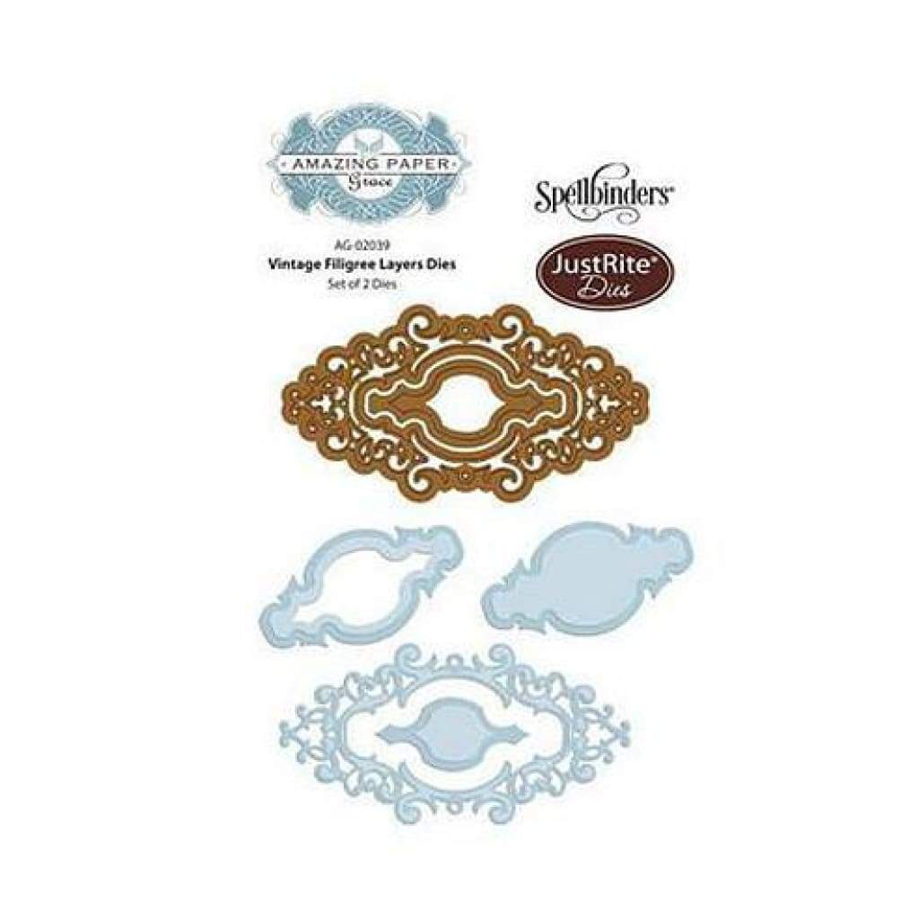 Justrite Custom Dies 2/Pkg Vintage Filigree Layer
