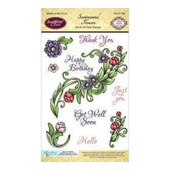 Justrite Papercraft Clear Stamp Set 4In. X6in.  Sentimental Flowers