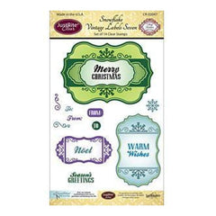 Justrite Papercraft Clear Stamp Set 4X6 Snowflake Vintage Labels Seven 14Pc