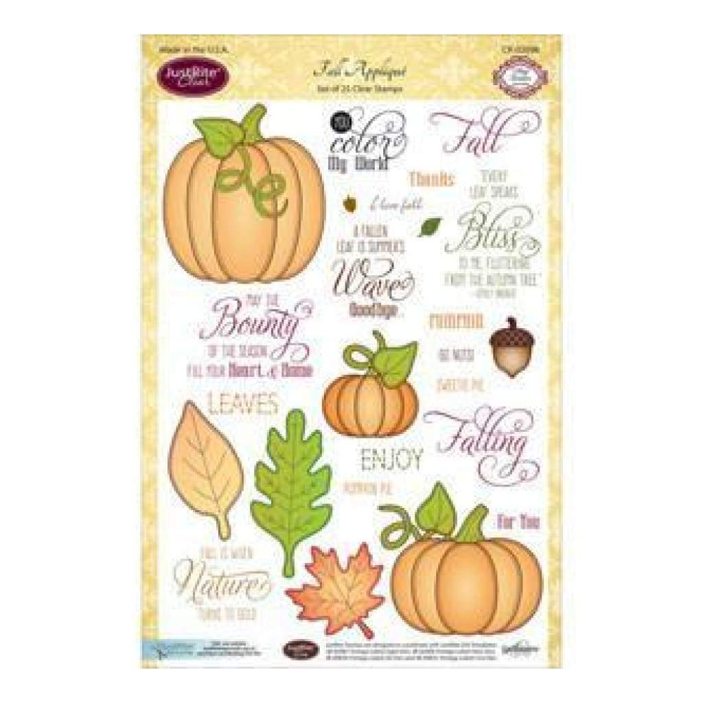 Justrite Papercraft Clear Stamp Set 6 Inchx8 Inch Fall Appliques 25Pc