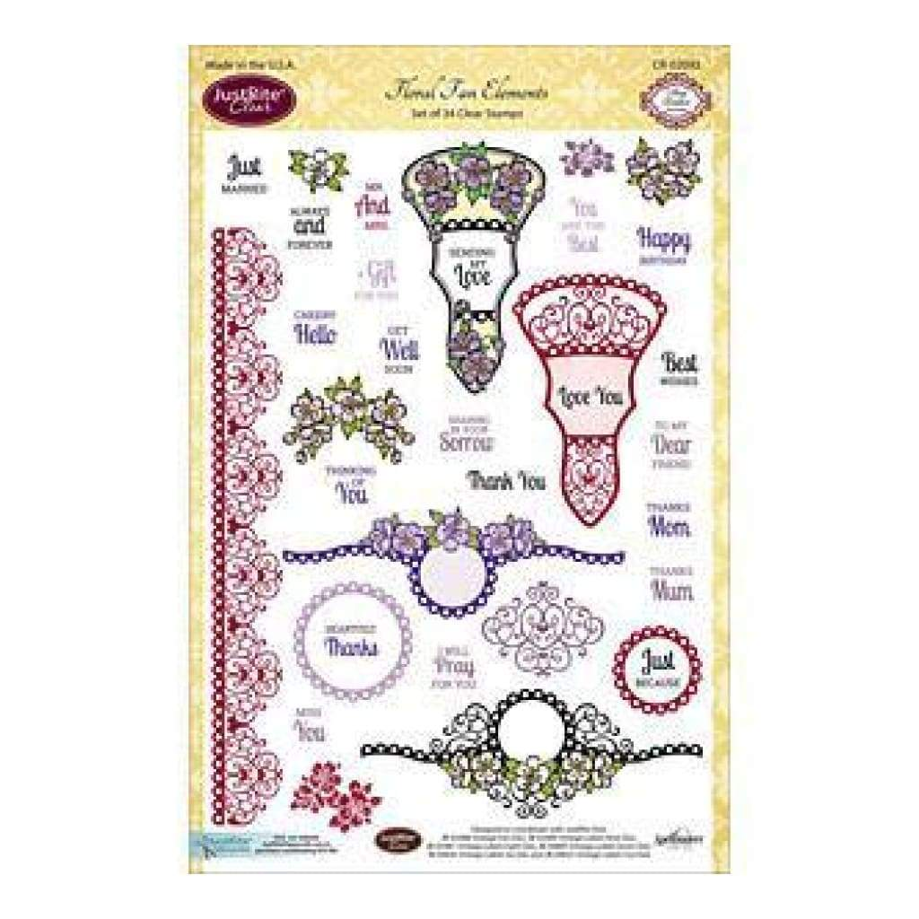 Justrite Papercraft Clear Stamp Set 6 Inchx8 Inch Floral Fan Elements 34Pc