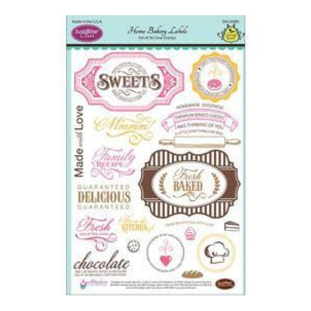 Justrite Papercraft Clear Stamp Set 6X8 - Home Bakery Labels 30 Piece