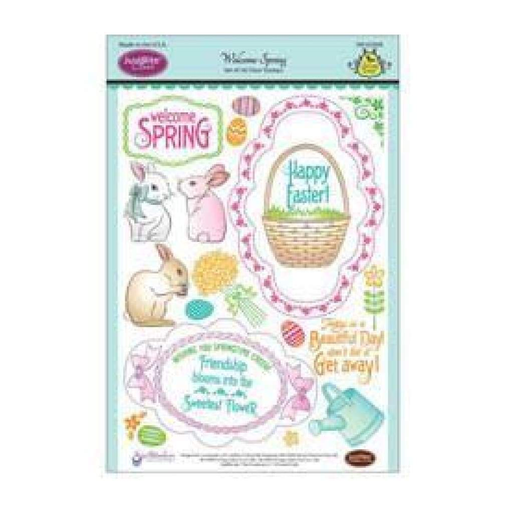 Justrite Papercraft Clear Stamp Set 6X8 - Welcome Spring 27 Piece