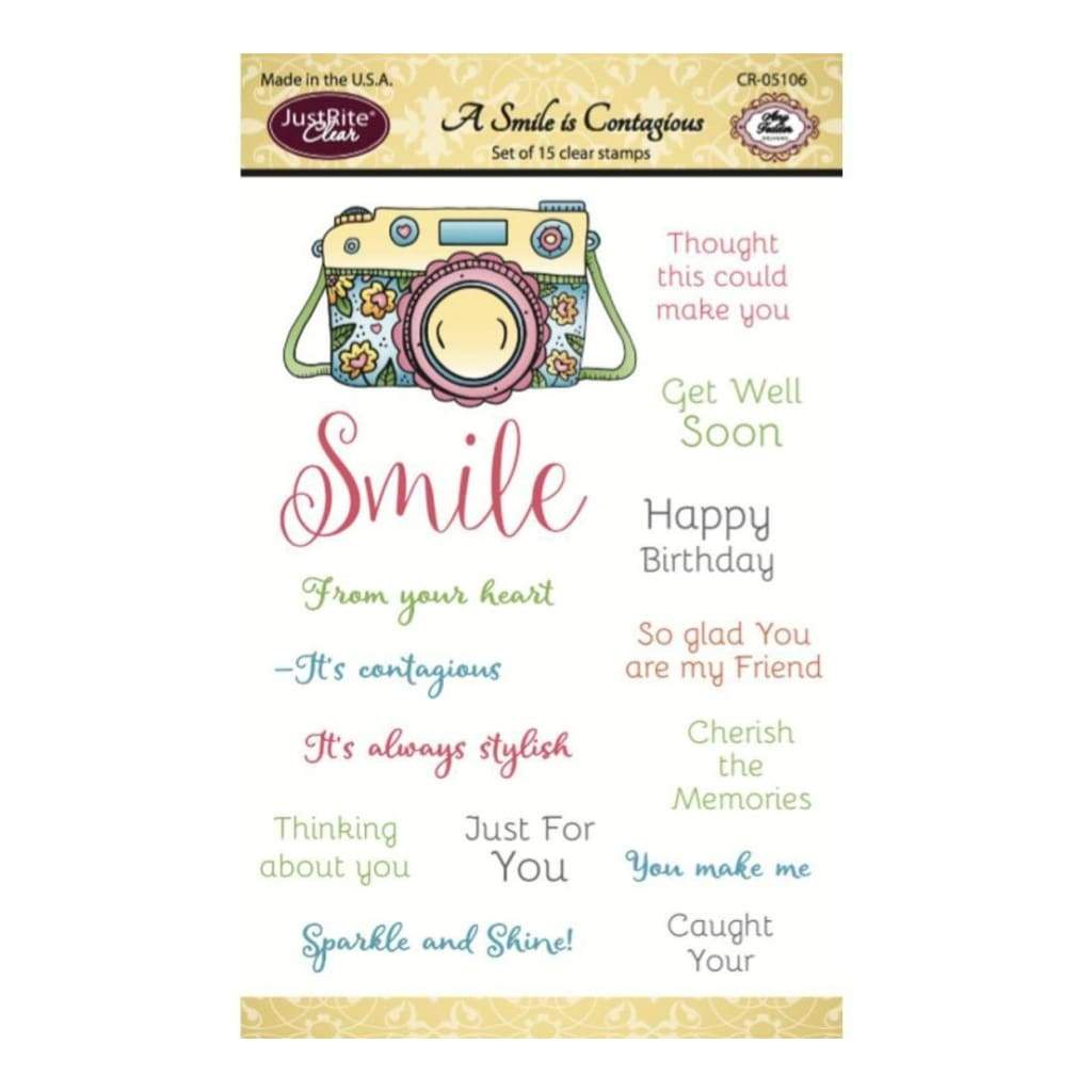 JustRite Papercraft Clear Stamps 4 inch X6 inch A Smile Is Contagious