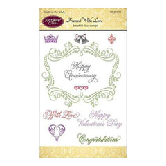 Justrite Papercraft Clear Stamps 4 Inch X6 Inch  Framed  With Love