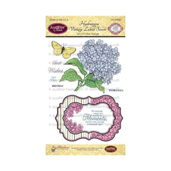 "JustRite Papercraft Clear Stamps 4""X6"" Hydrangea Vintage Labels Seven"