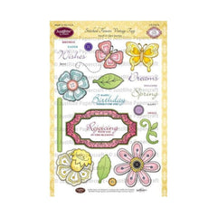 "JustRite Papercraft Clear Stamps 6""X8"" Stitched Flowers Vintage Tags"