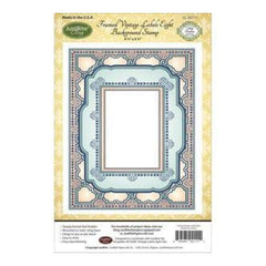 Justrite Papercraft Cling Background Stamp 4.5Inch X5.75Inch  Framed Vintage Labels Eight