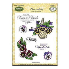 Justrite Papercraft Cling Stamp Set 5.5X8.5 Pansies In Spring 7Pc