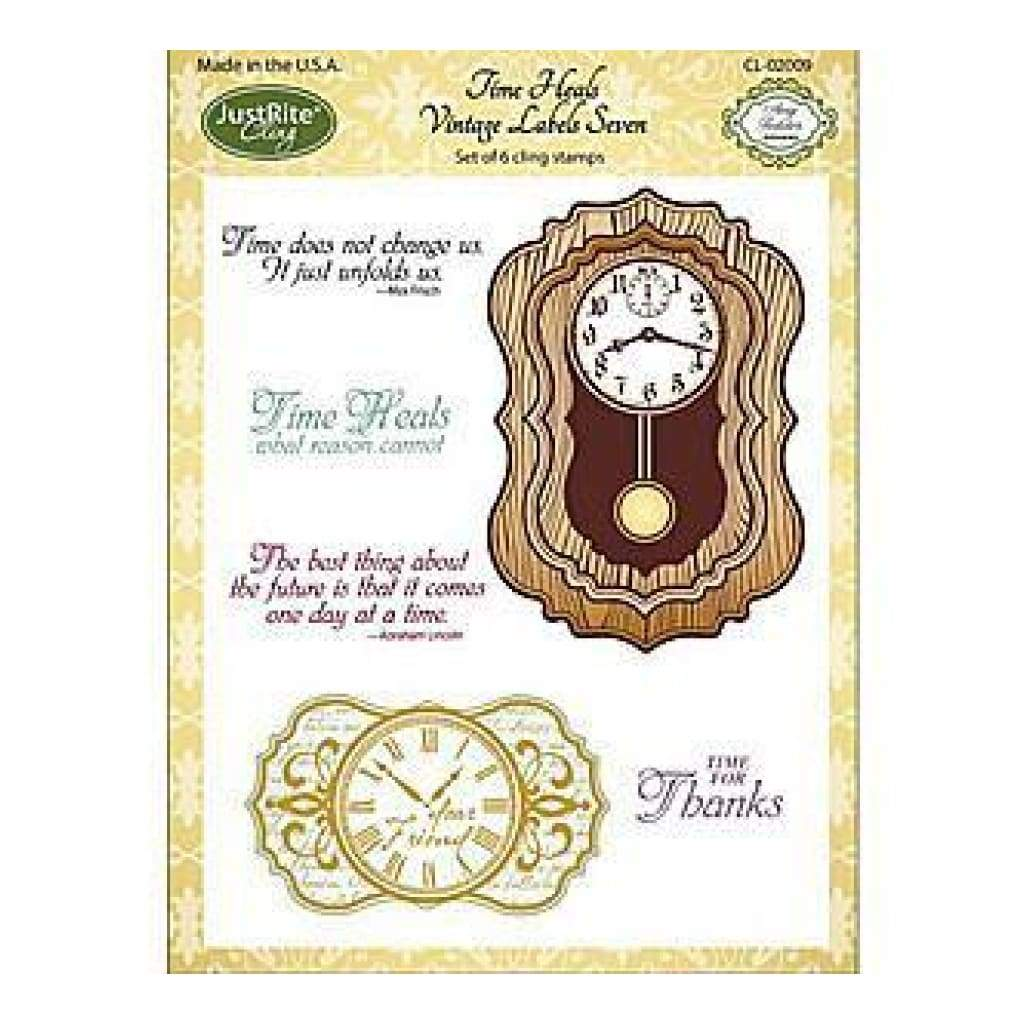 Justrite Papercraft Cling Stamp Set 5.5X8.5 Time Heals 6 Pieces
