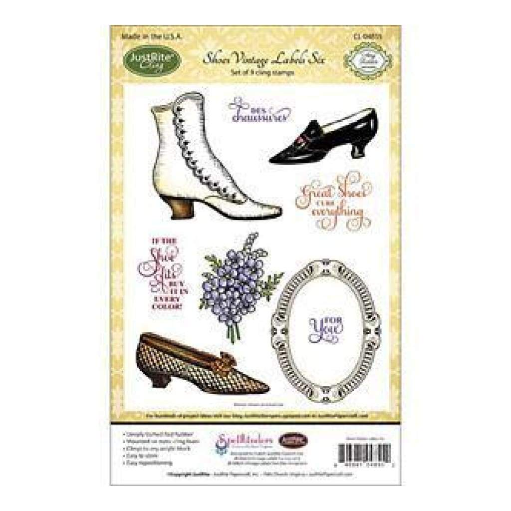 Justrite Papercraft Cling Stamp Set Shoes Vintage Labels 6 9Pcs