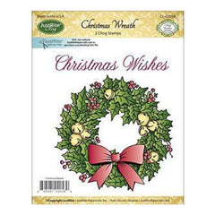 Justrite Papercraft Mini Cling Stamp Set 3.5X4 Christmas Wreath 2Pc