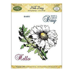 Justrite Papercraft Mini Cling Stamp Set 3.5X4 Hello Daisy 4 Pieces