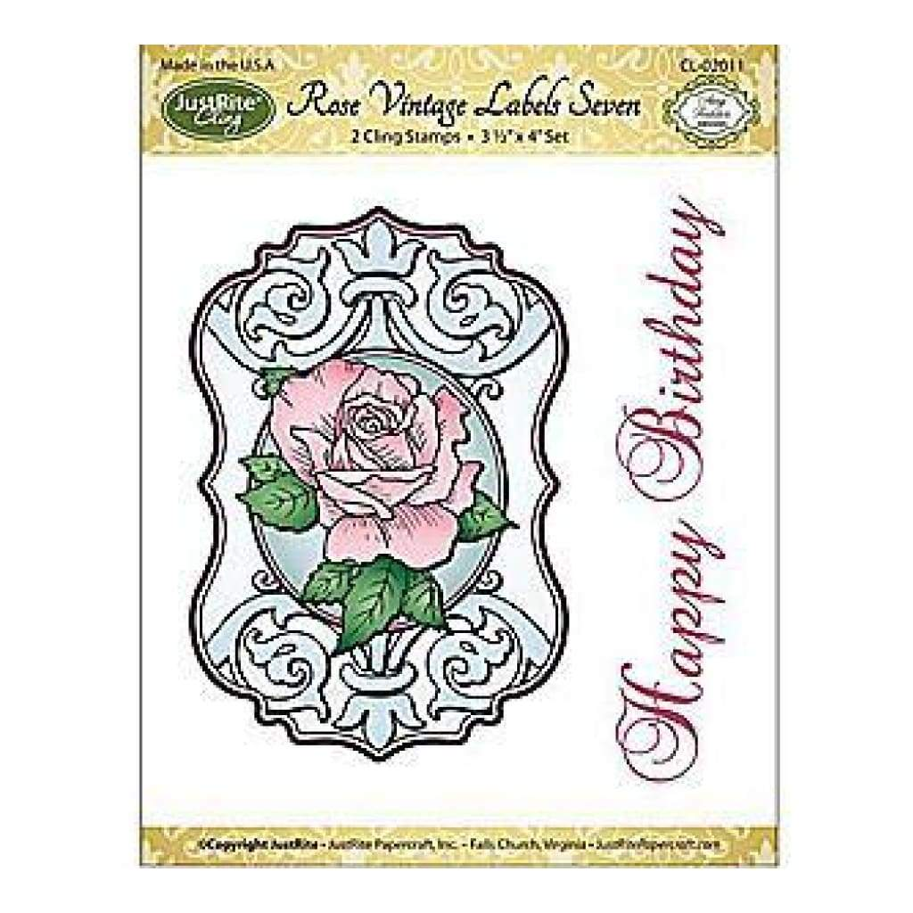 Justrite Papercraft Mini Cling Stamp Set 3.5X4 Rose Vintage Labels Seven 2 Pie