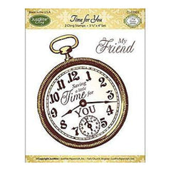 Justrite Papercraft Mini Cling Stamp Set 3.5X4 Time For You 2 Pieces