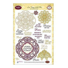 Justrite Stampers 6X8 Inch Clear Stamp Set Lace Vintage Labels Three 22Pieces