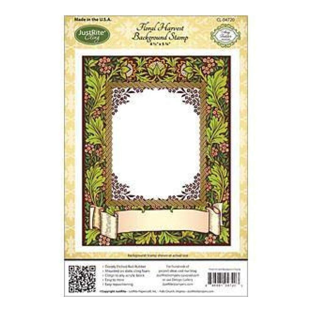 Justrite - Justrite Stampers Cling Background Stamp 4-1/2X5-3/4 Inches - Floral Harvest
