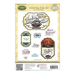 Justrite Stampers Cling Stamp Set - Chicken Soup Labels Four 10Pc