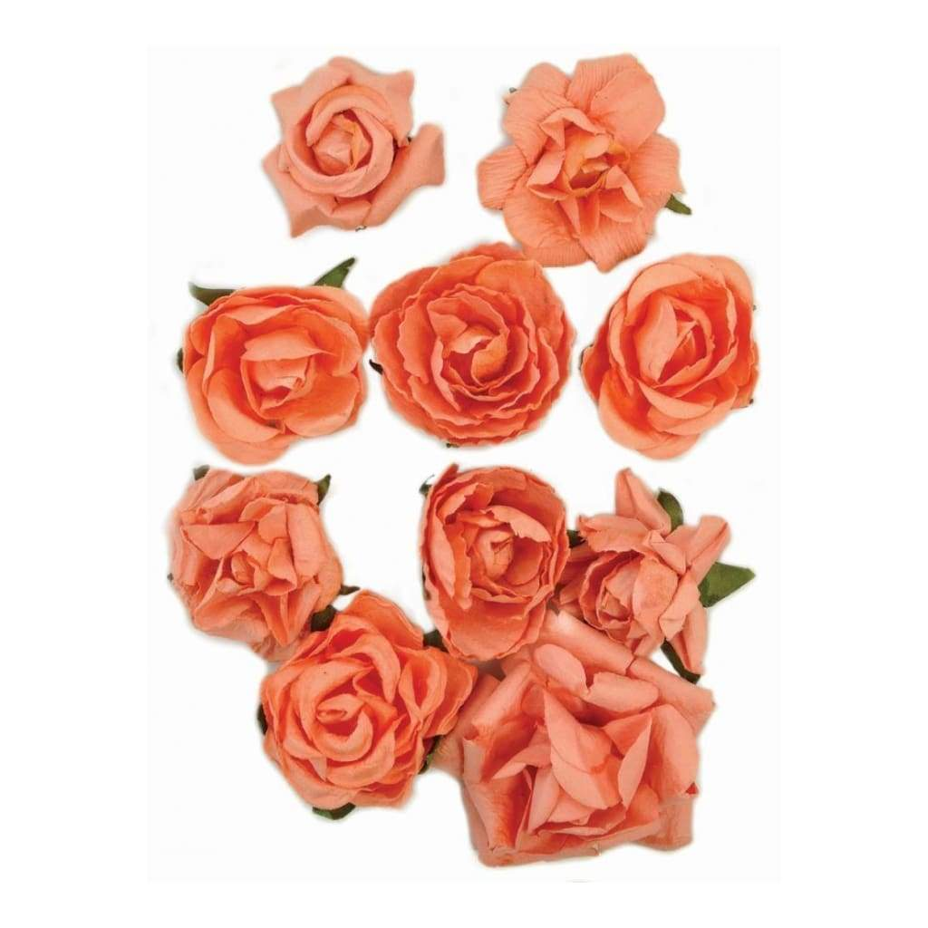 Kaisercraft - Paper Blooms 1 inch - 1.5 inch 10 pack Coral