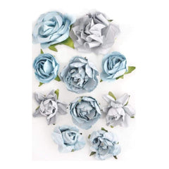 Kaisercraft - Paper Blooms 1 inch - 1.5 inch 10 pack Iceberg
